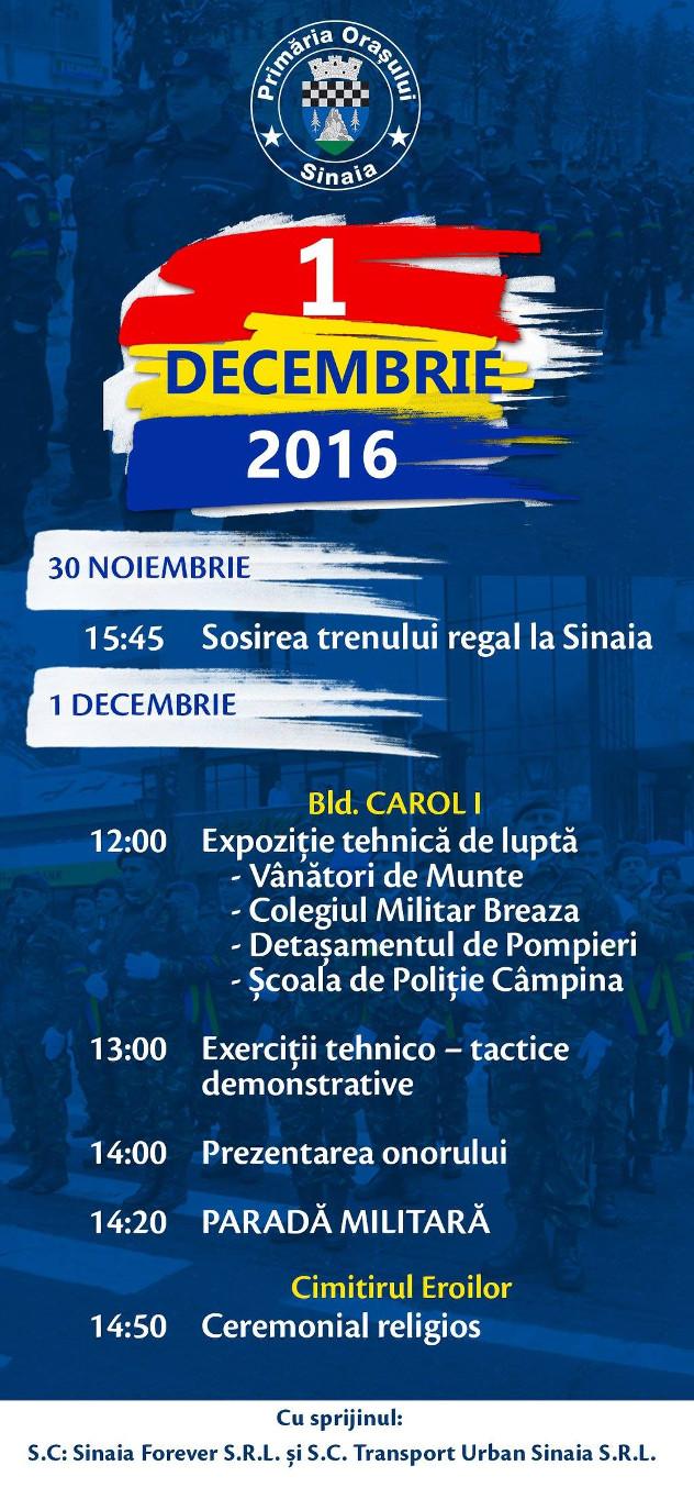 Ziua tuturor Românilor – 1 Decembrie, sărbătorită la Sinaia